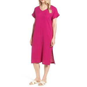NWT Eileen Fisher V-Neck Cotton Midi Dress Cerse